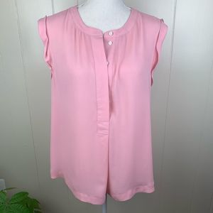 J. CREW   Pink Sleeveless 3/4 Button Up Top - 10